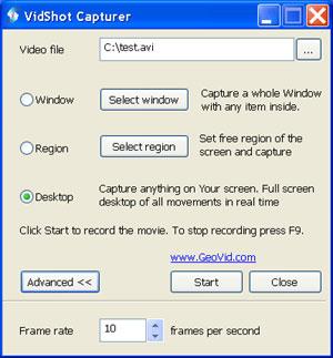 Capture d'écran du logiciel VidShot Capturer 1.0