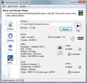 Capture d'écran du logiciel VideoInspector 2.10.0.137 fr