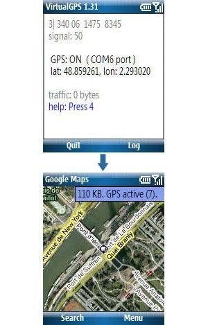 Capture d'écran du logiciel VirtualGPS Lite 1.54