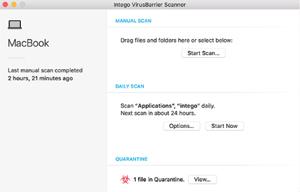 Capture d'écran du logiciel VirusBarrier Scanner 1.1.4 fr