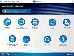 Capture d'ecran du logiciel VirusKeeper 2019 Free Edition 19.8.3 fr