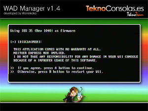 Capture d'ecran du logiciel Wad Manager 1.7
