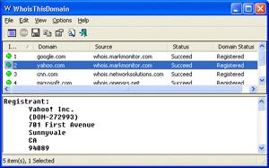 Capture d'ecran du logiciel WhoisThisDomain 2.37 fr
