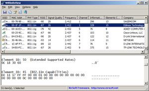 Capture d'ecran du logiciel WifiInfoView 2.46 fr