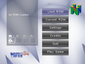 Capture d'écran du logiciel Wii64 beta 1.1