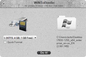 Capture d'ecran du logiciel WiNToBootic 2.2.1
