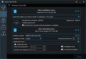 Capture d'écran du logiciel WinToUSB 3.9 fr