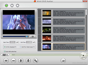 Capture d'ecran du logiciel WinX DVD Author 6.3.10.0 fr