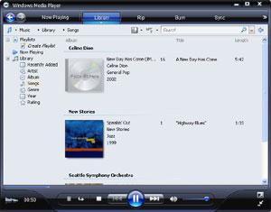 Capture d'écran du logiciel Windows Media Player 11.0.5721...