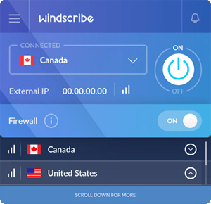 Capture d'ecran du logiciel Windscribe 1.83 build 20