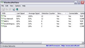 Capture d'écran du logiciel WirelessNetView 1.75