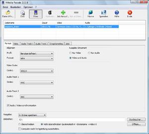 Capture d'ecran du logiciel XMedia Recode 3.5.1.3 fr