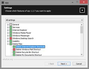 Capture d'écran du logiciel Xpy Portable 1.3.8 fr