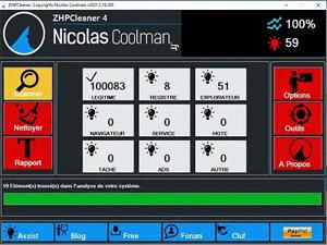 Capture d'écran du logiciel ZHPCleaner 2017.10.16.183 fr