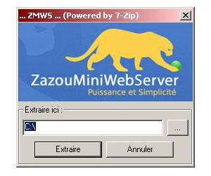 Capture d'écran du logiciel ZazouMiniWebServer 1.4.5 fr