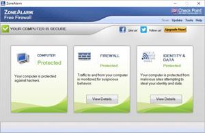 Capture d'ecran du logiciel ZoneAlarm Free Firewall 15.3.060.17669 fr
