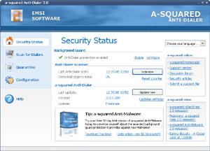 Capture d'ecran du logiciel a-squared Anti-Dialer 3.5.0.5 fr