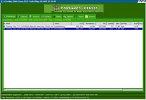 Capture d'écran du logiciel eDonkey Basic 1.1 - Linux