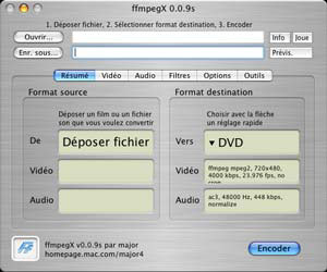Capture d'ecran du logiciel ffmpegX 0.0.9y fr