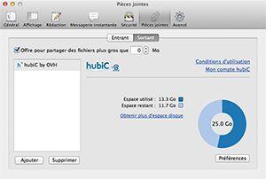 Capture d'écran du logiciel hubiC 2.1.0.256 fr - Mac