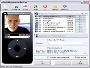 Capture d'écran du logiciel Free iPod Video Converter 3.0 fr