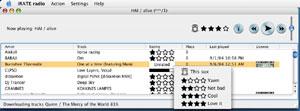 Capture d'écran du logiciel iRATE Radio 0.5